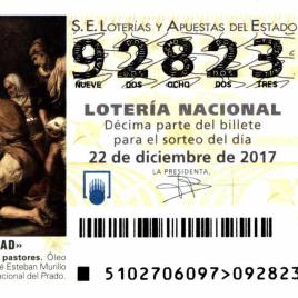 Billete de Lotería Nacional para el sorteo de 22 de diciembre de 2017