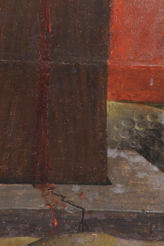 <p><em>Fig.7</em>. Detalle de los repintes alterados en la madera de la cruz</p>