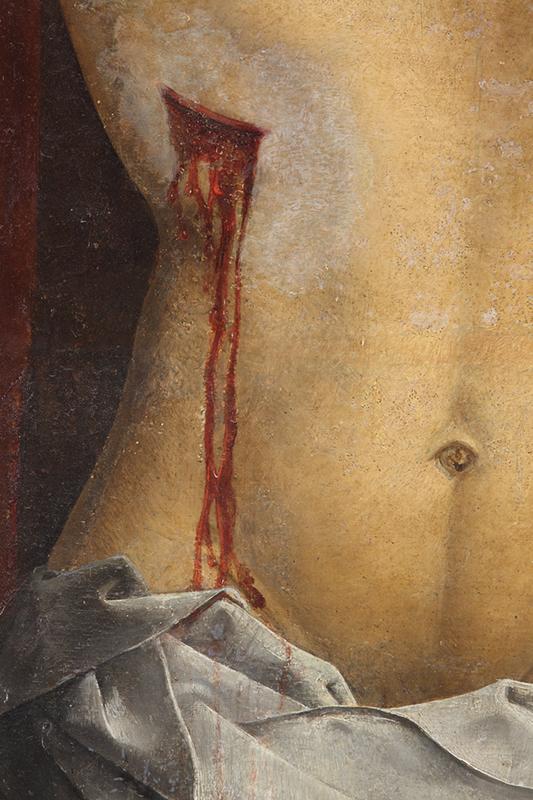 <p><em>Fig.9</em>. Detalle de los desgastes y los repintes alterados en el cuerpo de Cristo</p>