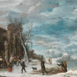Paisaje de invierno con la Adoración de los pastores