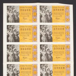 Capilla de billete de Lotería Nacional para el sorteo de 16 de mayo de 1960