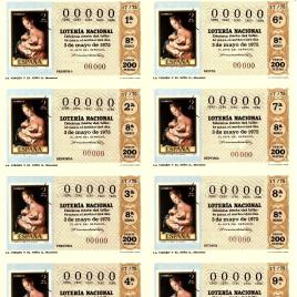 Capilla de billete de Lotería Nacional para el sorteo de 3 de mayo de 1975