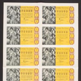 Capilla de billete de Lotería Nacional para el sorteo de 24 de septiembre de 1960