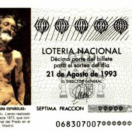 Capilla de décimo de Lotería Nacional para el sorteo de 21 de agosto de 1993