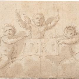 Dos angelitos llevando una cartela con la inscripción I.N.R.I.
