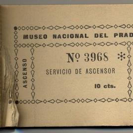 Taco de billetes de entrada para el servicio de ascensor del Museo del Prado de 1919-1940