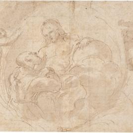 Dos angeles llevando una cartela en la que figura Cristo recibiendo un Santo en Gloria.