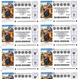 Capilla de billete de Lotería Nacional para el sorteo de 22 de diciembre de 2005