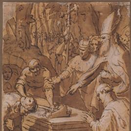 Un rey y un obispo presencian la apertura de una tumba
