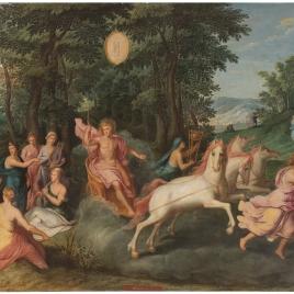 Alegoría del mes de Mayo con el triunfo de Apolo y el signo de Geminis