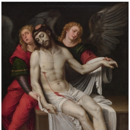 Cristo muerto sostenido por dos ángeles