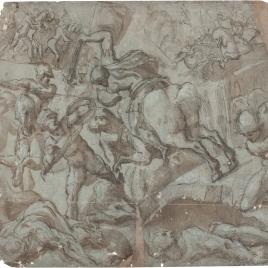 Horacio Cocles a caballo defendiendo el Puente Sublicio contra Lars Porsenna y los etruscos