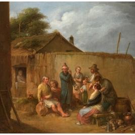 Un veterano narrando sus aventuras en la puerta de una hostería a un grupo de aldeanos, o El charlatán