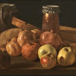 Bodegón con granadas y manzanas, cajas de dulces y otros recipientes