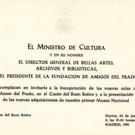 Invitación para la visita a las nuevas salas del Museo del Prado, en el Casón del Buen Retiro y presentación de las nuevas adquisiciones
