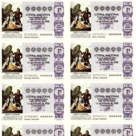 Capilla de billete de Lotería Nacional para el sorteo de 14 de febrero de 1988