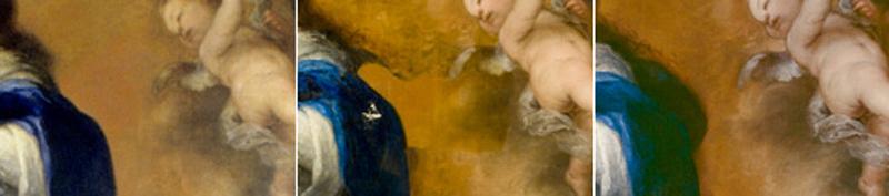 <p><em>Fig. 2. a, b y c.</em> Parte del pelo y manto azul de la virgen fueron ocultados tras una capa de naranja a tono con el fondo original: antes, durante y después de la Restauración</p>