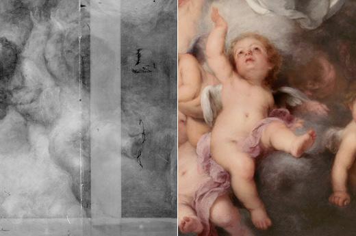 <p><em>Fig. 7. a y b.</em> La radiografía muestra el cambio hacia derecha de uno de los ángeles situados en la zona inferior</p>