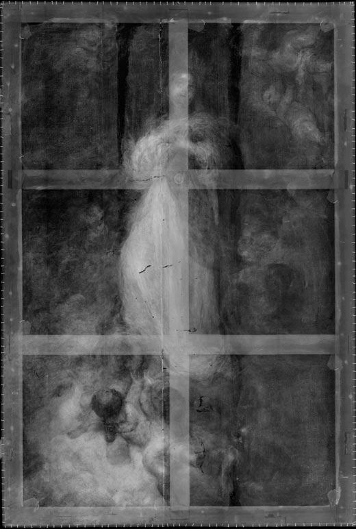 <p><em>Fig.6.</em> A través de la radiografía puede deducirse la estructura del bastidor de doble cruceta colocado durante el siglo XIX, hoy desaparecido</p>