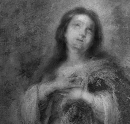 <p><em>Fig.8.</em> La reflectografía infrarroja muestra que el rostro y la posición de las manos de la Virgen han sido modificados durante el proceso pictórico</p>