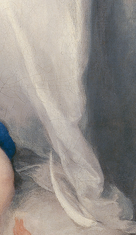 <p><em>Fig.5a.</em> Pincelada empastada y suelta del blanco del manto</p>