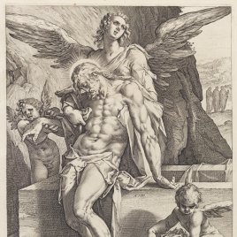 El cuerpo de Cristo sostenido por ángeles