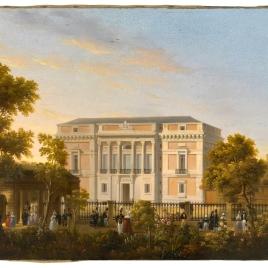 Vista de la fachada sur del Museo del Prado, desde el interior del Jardín Botánico