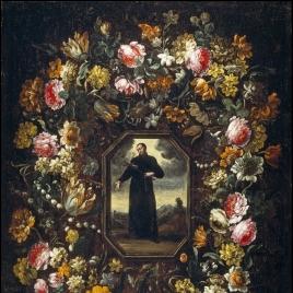Guirnalda de flores con san Camilo de Lelis