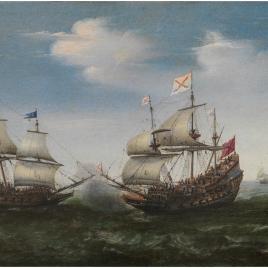 Combate naval frente a una costa rocosa