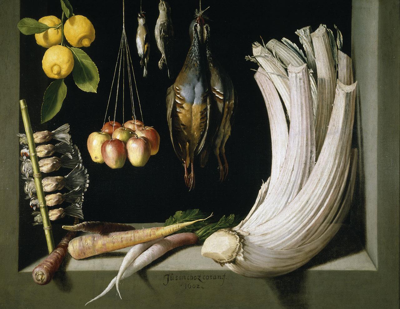 Bodegón de caza, hortalizas y frutas [Sánchez Cotán]