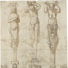 Estudio de telamones y cariátides / Tres figuras femeninas