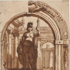 Minerva ante un fondo de arquitecturas